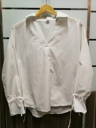 White Blouse with ribbon sleeve #1111