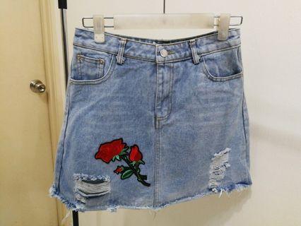 Denim Rose Embroidery Skirt #1111