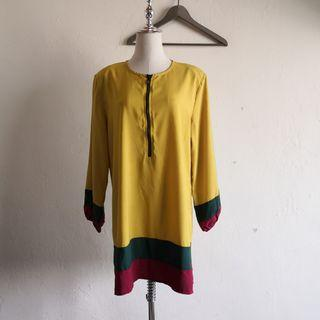 Plus Size Front Zip Mustard Long Sleeve Blouse