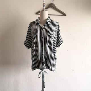 Black White Shirt Sleeve Striped Top