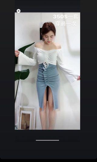 抽繩顯瘦仙女套裝 彈力裙
