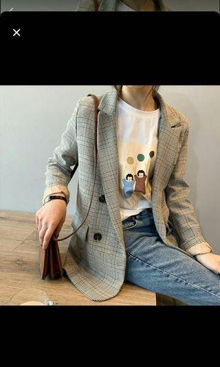 韓國長版棕色格紋西裝外套#剁手時尚