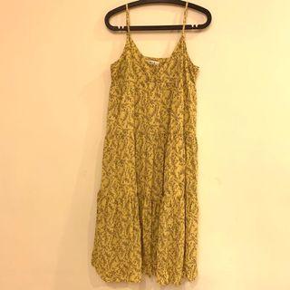 🎁 黃色碎花 細肩帶 長洋裝 可調肩帶長短