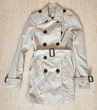 Stradivarius trench coat nude beige khaki tan size S