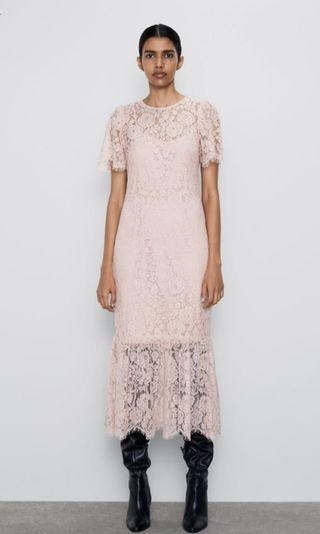 Inc pos Zara premium pink lace dress