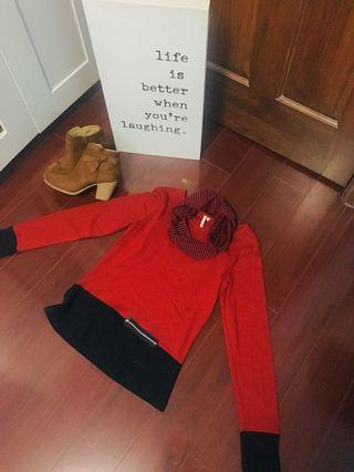 Navy & Red Chic Sweater Top with Matching Scarf- Size S