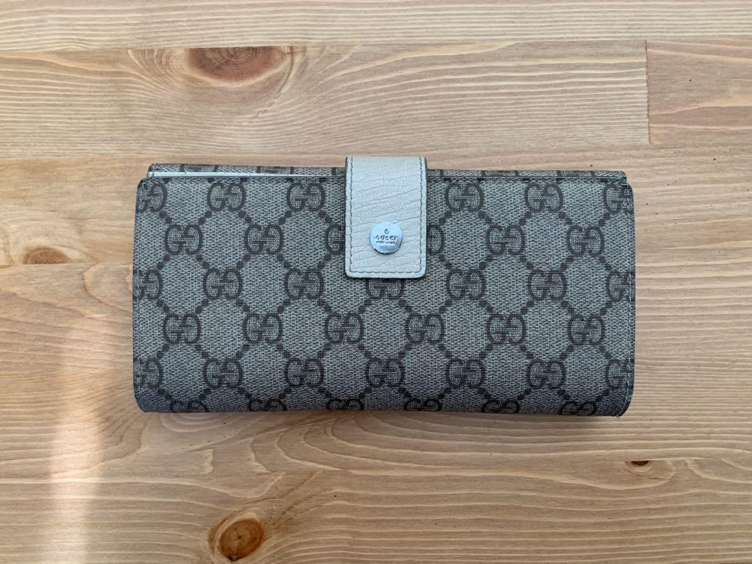 100% Authentic Gucci Monogram Longline Wallet - Cream