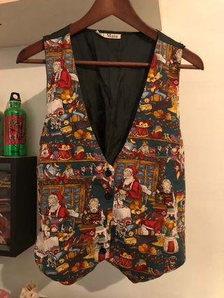 歐洲古董聖誕節紛圍趣味圖造型背心