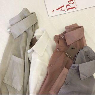 微透膚白色長袖襯衫外套imfine#剁手時尚