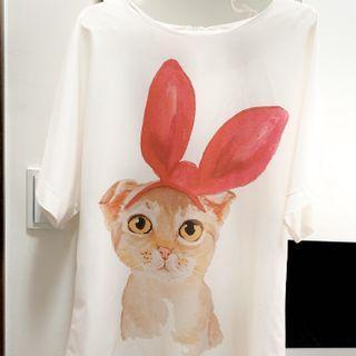 貓咪紅蝴蝶結彩繪風格洋裝/長上衣