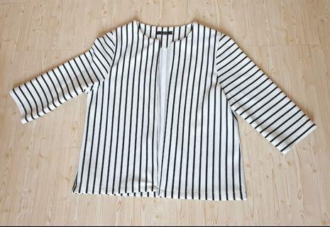 Lebijou white oversized stripes blazer