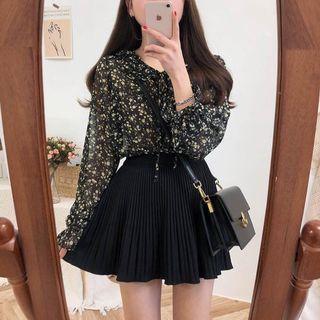 全新✨韓系碎花雪紡荷葉領復古長袖襯衫上衣 黑色荷葉邊🇰🇷#剁手時尚