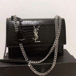 Ysl Saint Laurent SUNSET CHAIN WALLET IN CROCODILE EMBOSSED SHINY LEATHER