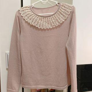 藕粉色立體編織蕾絲上衣
