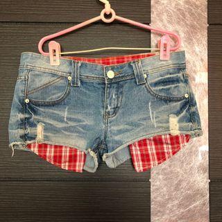 口袋外露牛仔短褲 L