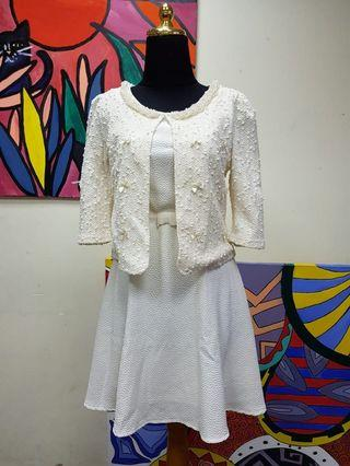 White Dress with Pearl Tweed Outer