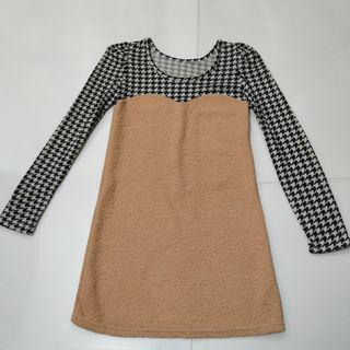 Beige black n white dress