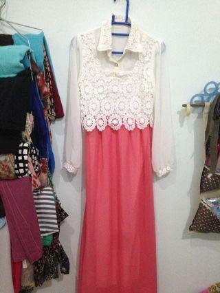 #1111special LONGDRESS PINK SALMON WHITE