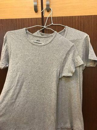 UNIQLO 灰/白  素面T-shirt