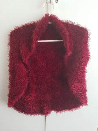 Furry red cardigan