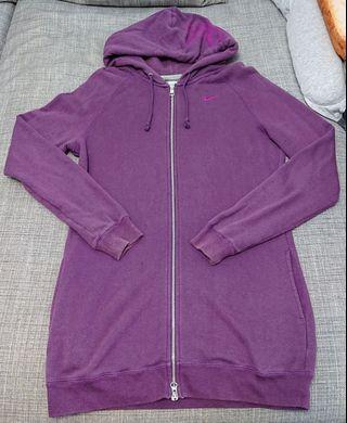 NIKE 女生棉質長版修身連帽外套 紫 (2手)