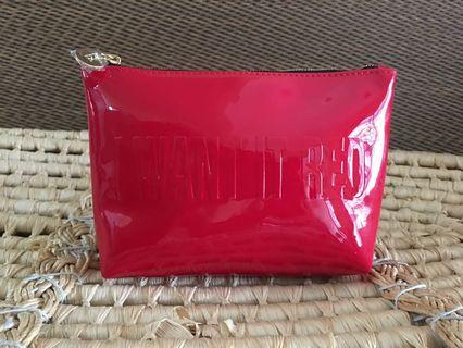 Ready stock: YSL Beaute complimentary glossy red Clutch pouch