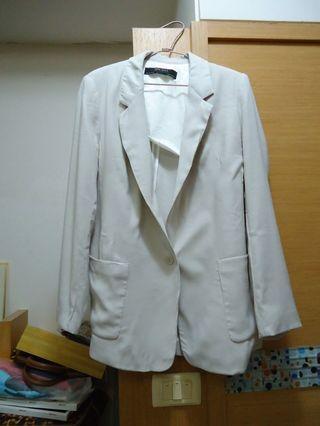 (全新) 專櫃ZARA 素面長板知性簡約百搭雙口袋OL西裝外套