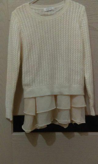 多層次 米白 針織 毛衣 拼接 #剁手時尚