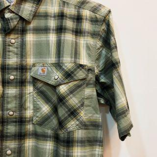 全新 綠色 Carhartt 雙口袋 短袖襯衫外套 S號