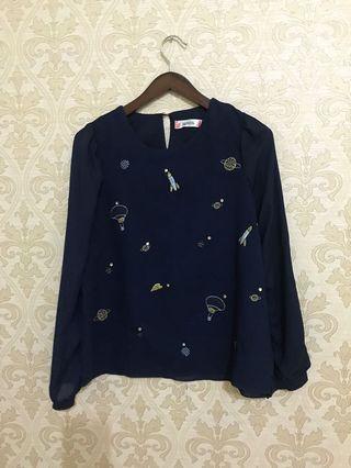 Navy Blouse baju kerja