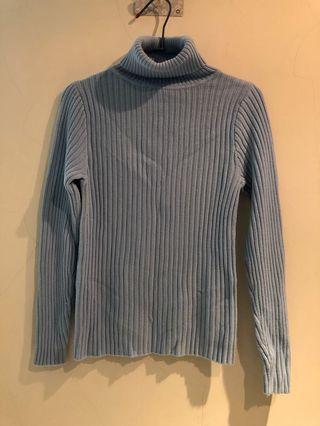 淺藍 高領毛衣 上衣 稍緊身 #剁手時尚