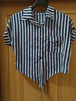 條紋短版襯衫
