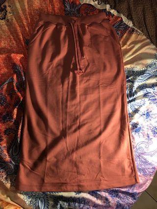 GENQUO范瑋琪的自創品牌 粉橘色長窄裙 純棉 親膚