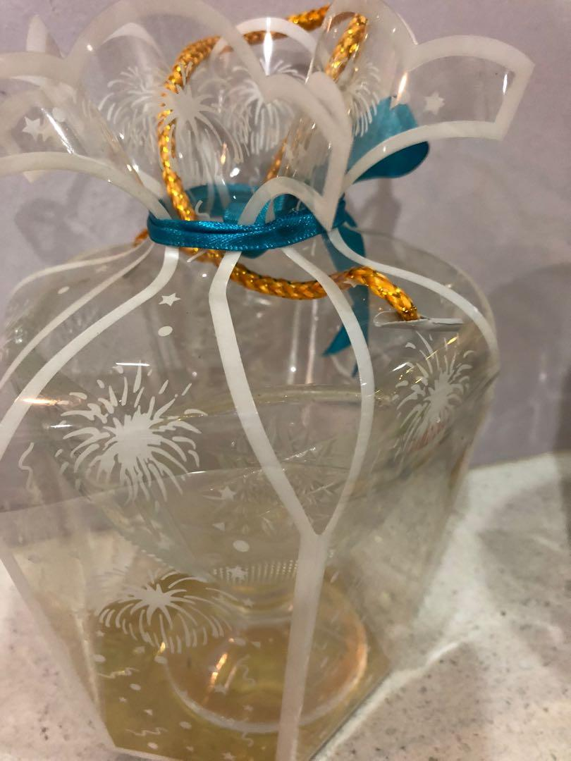 2 glass jar - gold color with lid, white without lid(deco jar)