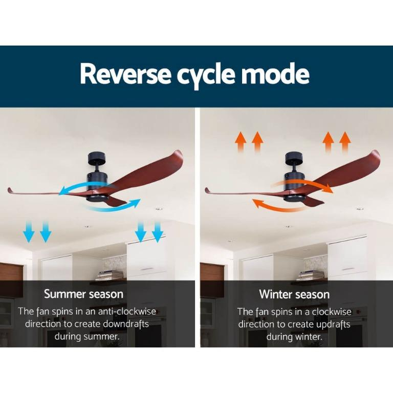 56″ DC Motor Ceiling Fan with Remote 8H Timer Reverse Mode 5 Speeds Wooden