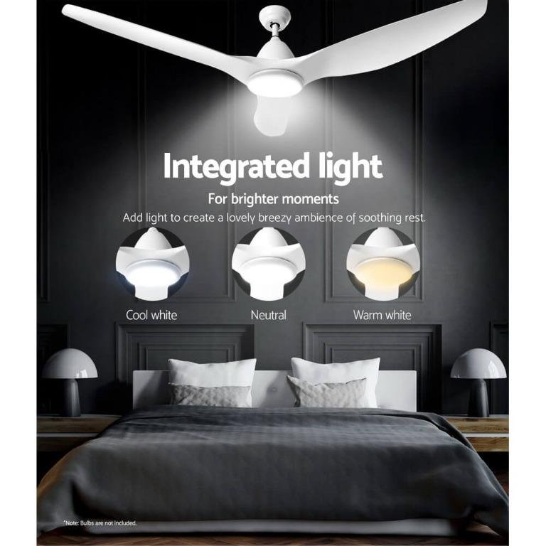64″ DC Motor Ceiling Fan with LED Light with Remote 8H Timer Reverse Mode 5 Speeds White