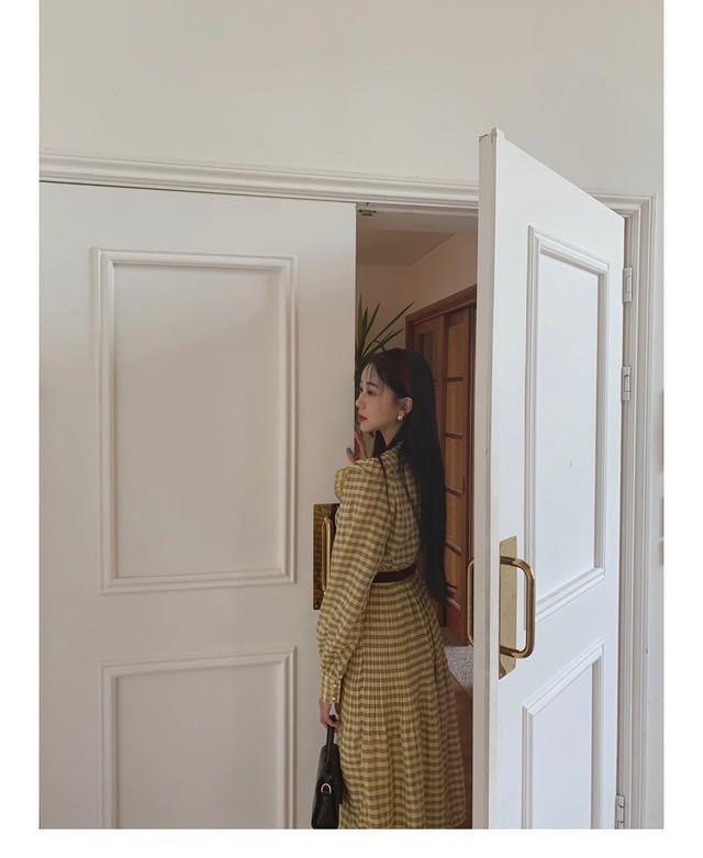 粉嫩 黃色 格紋 復古 長袖 襯衫 洋裝 長裙 有腰帶 韓國購買