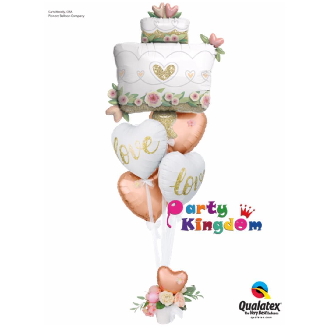 鮮花婚禮蛋糕氣球花籃 結婚求婚鋁箔氣球美國 Glitter Gold Wedding Cake 結婚慶婚禮裝飾婚宴氦氣球 場地佈置