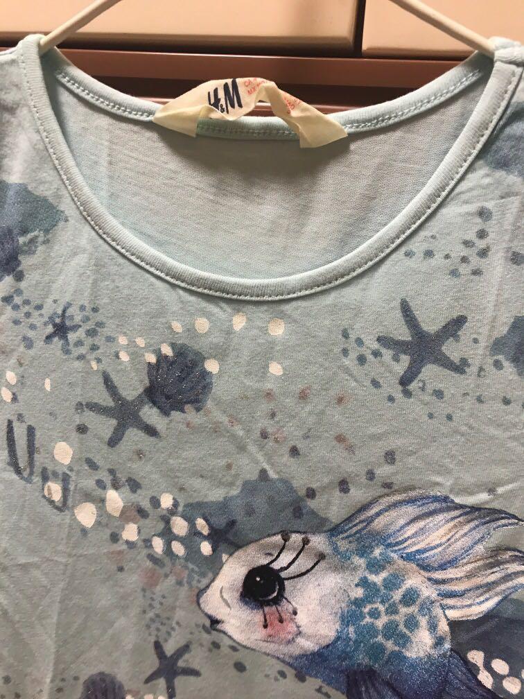 女童 淺藍色連身裙 h &M