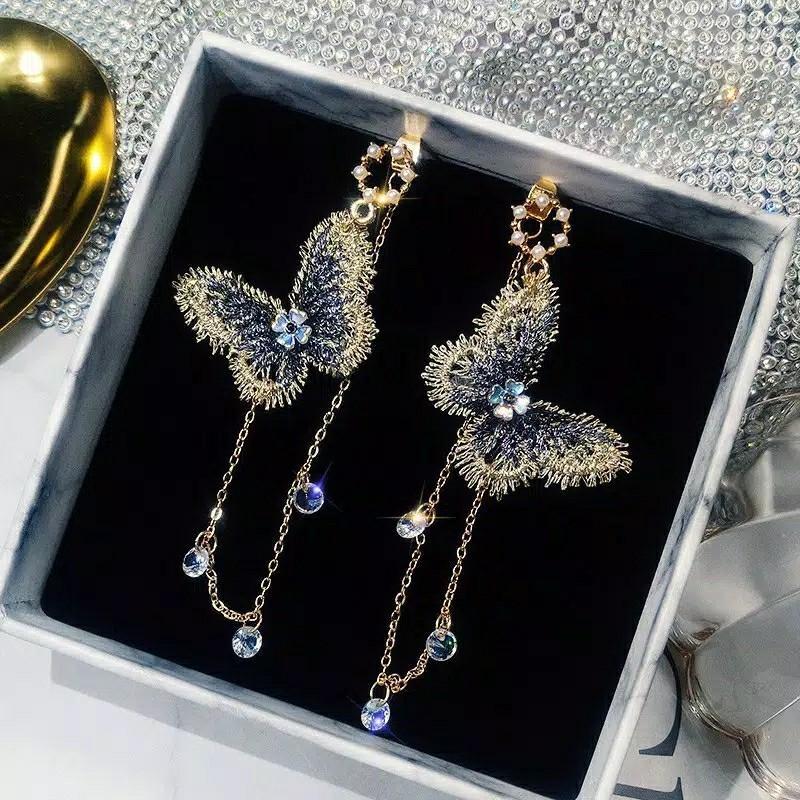 Anting Gantung Desain Kupu-kupu Hias Rumbai Klasik untuk Wanita