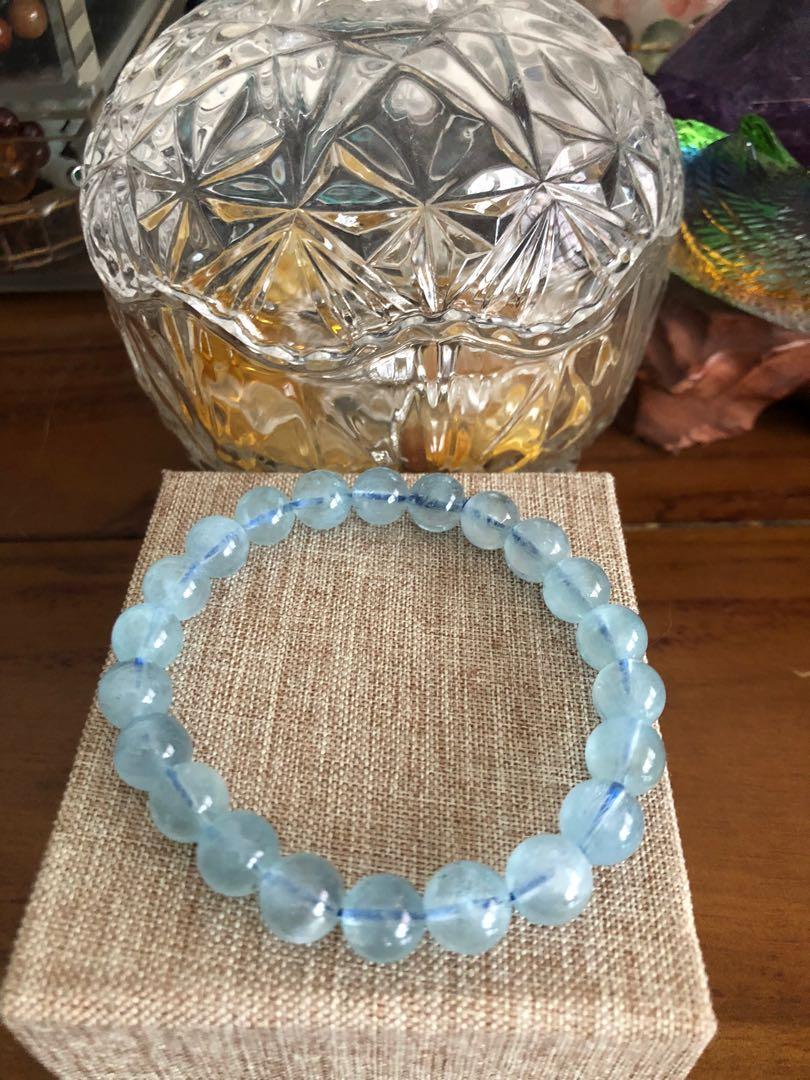 Aquamarine icy bracelet 10 mm