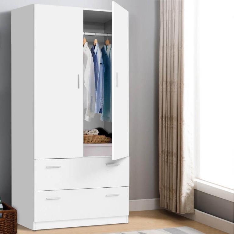 Artiss 2 Doors Wardrobe Bedroom Closet Storage Cabinet Organiser Armoire 180cm White