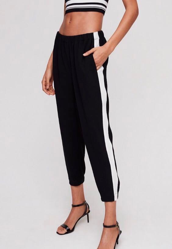 Artizia Wifred Black Dress Pants W/ White Stripe Size Small