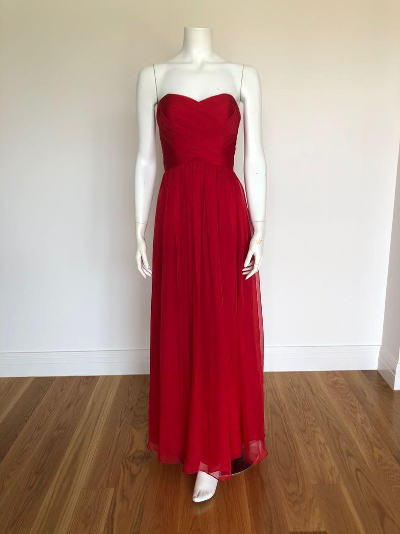 BARIANO - Red Strapless Dress (Size 8) - WORN ONCE