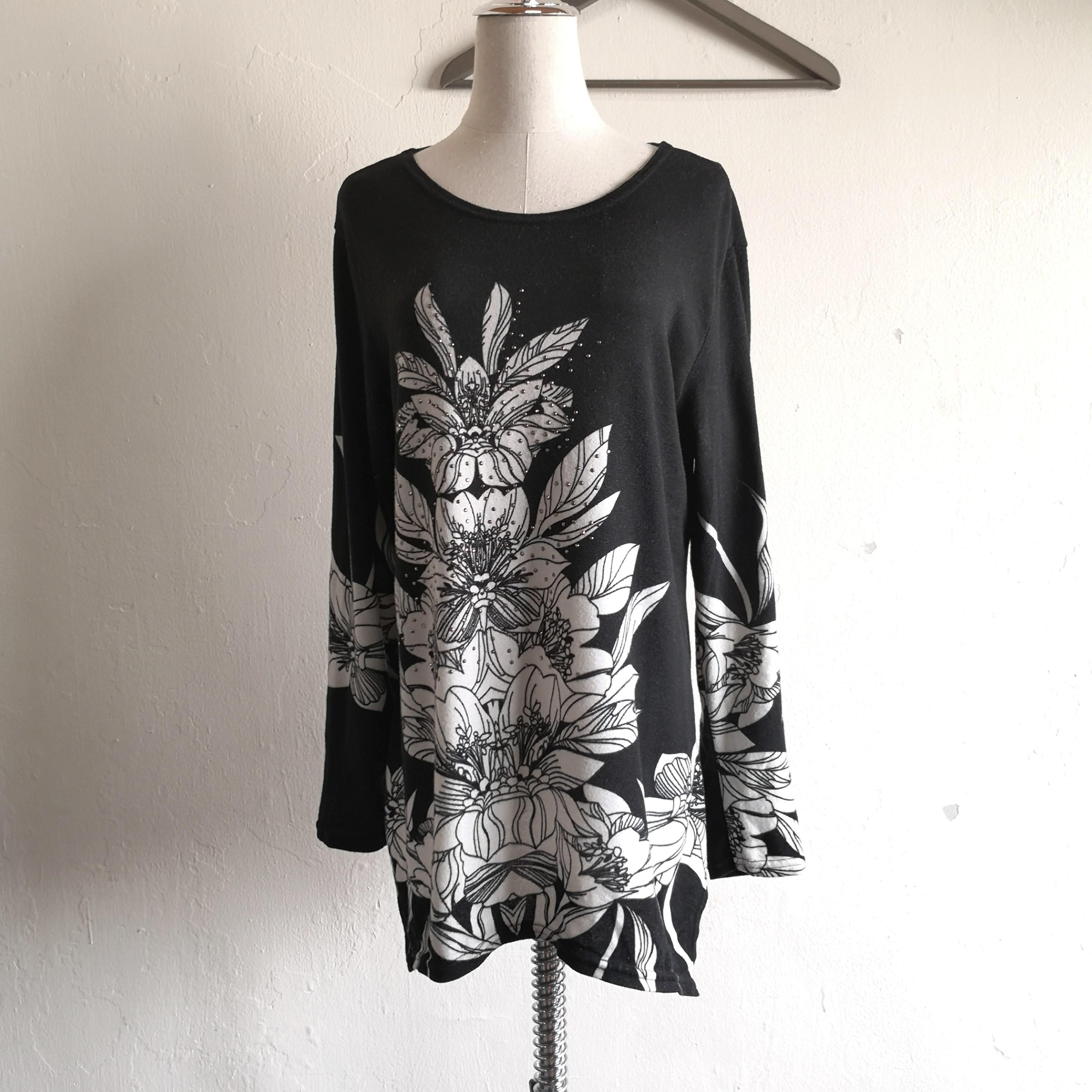 Black Floral Long Sleeve Baggy Blouse