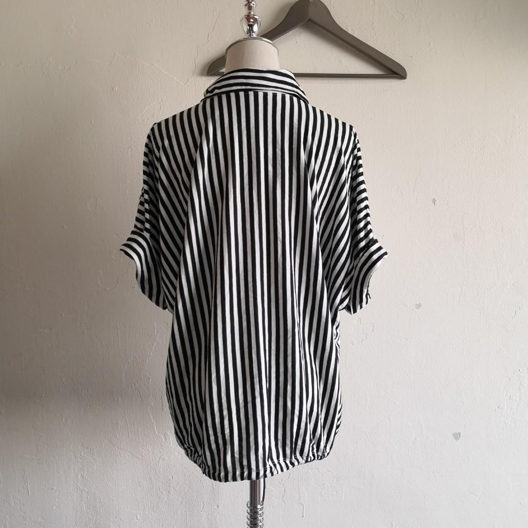 Black White Shirt Sleeve Striped Top