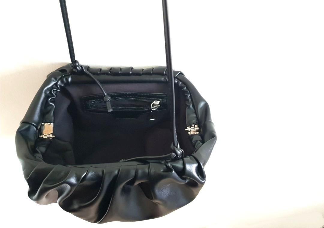 BN M. Kaely Leather Clutch Sling Bag (gathered clasp bag, in black)