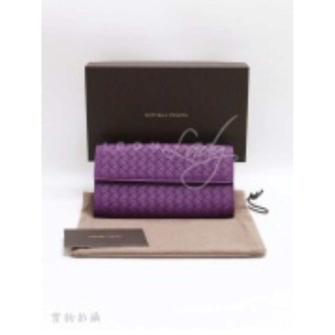 BOTTEGA VENETA 150509 紫色經典織皮(長)銀包 錢包