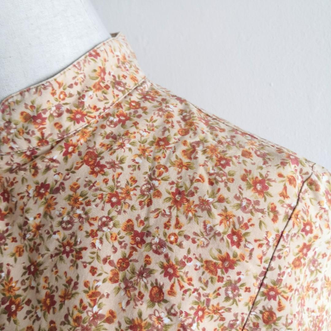Brown Floral Button Top