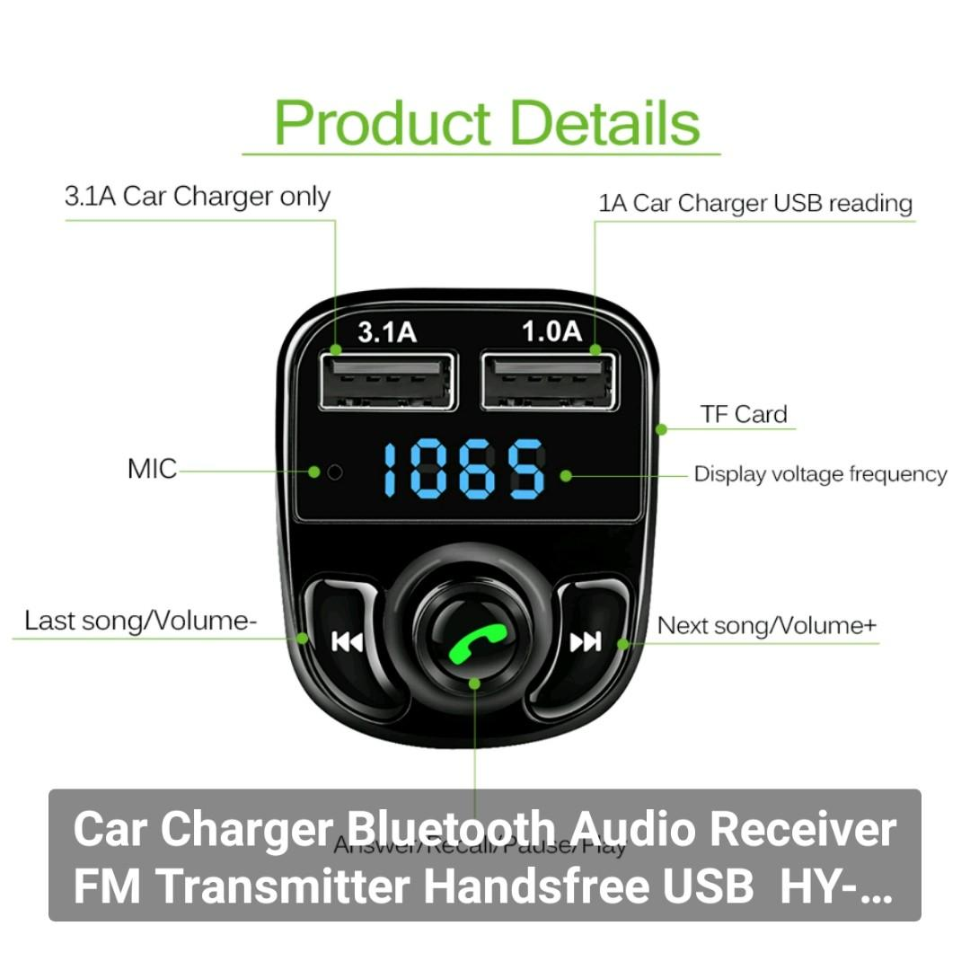 Car Charger Bluetooth Audio Receiver FM Transmitter Handsfree USB  HY-82